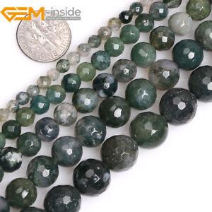 Moss Agate Round Beads 6mm Green 12 Pcs Gemstones DIY Jewellery Making Crafts
