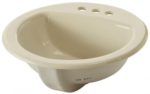 4 Centerset Bathroom Sink Biscuit Drop In Round With Overflow Drain Aquasource