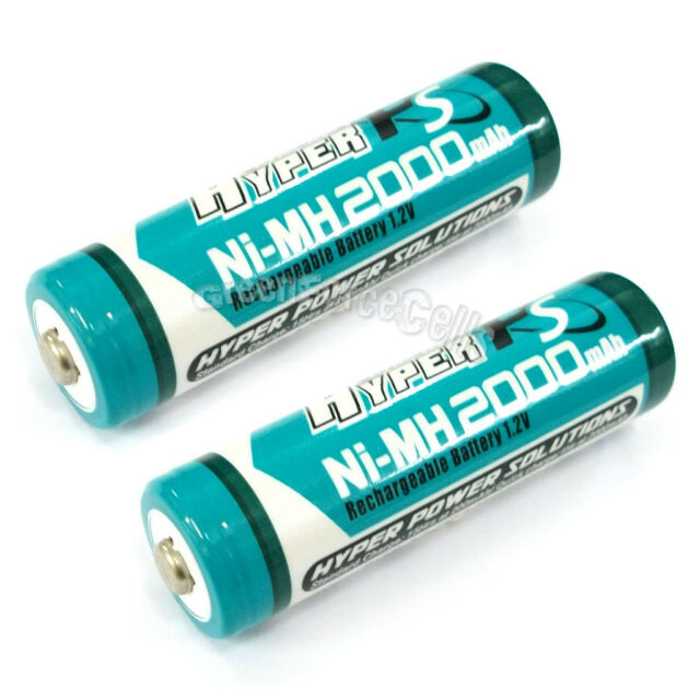 2 pcs AA LR06 2000mAh 1.2V NI-MH rechargeable battery CELL/RC MP3 2A HYPER BLUE