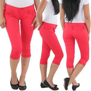 Damen-Stretch-3-4-Capri-Jeans-Kurze-Hose-Shorts-Bemuda-Huefthose-Sommer-Rot