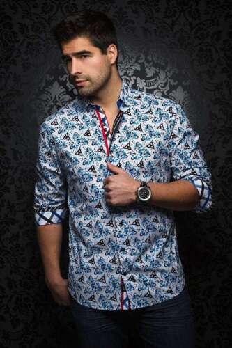 Au Noir Men/'s fashion long-sleeve dress shirt Ventura blue//black Italian Style
