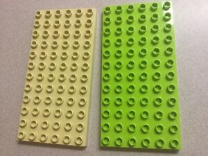 Lot-Of-2-Lego-Duplo-Flat-Plate-6-x-12-One-Tan-And-One-Lime-Green-Baseplates