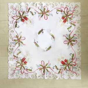 White-Vintage-Embroidered-Lace-Tablecloth-Square-Table-Cover-Cloth-Christmas