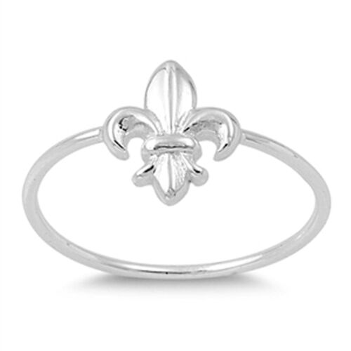 Fleur De Lis Promise Ring New .925 Sterling Silver Thin Band Sizes 2-10