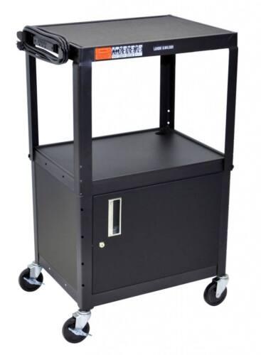 Luxor AVJ42C Mobile Steel Adjustable Height AV Cart with Storage Cabinet Black