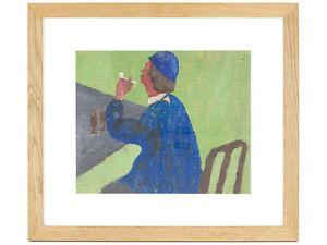 Early-Robert-Lenkiewicz-Gouache-Portrait-of-Man-amp-Pipe