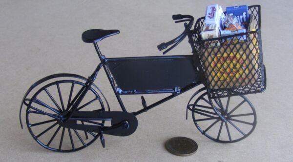 1:12 Scala Nero Consegna Bicicletta & Cestino + Spesa Tumdee Casa Delle Bambole