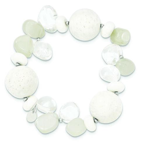 Argent Sterling .925 Corail//Jade//Pierre de lune//ROCK quartz Stretch Bracelet fabricants Standard prix de détail $61