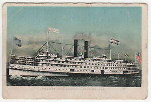 STEAMER-MORSE-PC-Postcard-USS-C-W-MORSE-ID-1966-People-039-s-Line-SHIP-Liner-BOAT