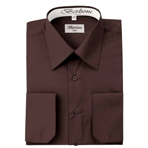 Berlioni Italy French Convertible Cuff Solid Mens Dress Shirt All Colors /& Sizes