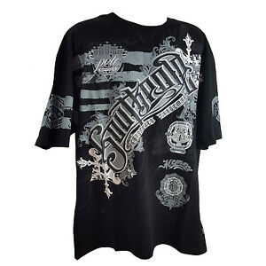 Southpole Mens Flock and Metallic Print Graphic T-Shirt