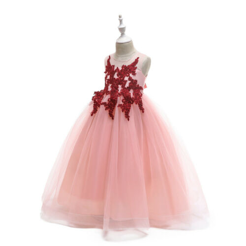 2019 Childrens Girls Elegant Embroidered Floral  Ball Gown Tulle Dress ZG9