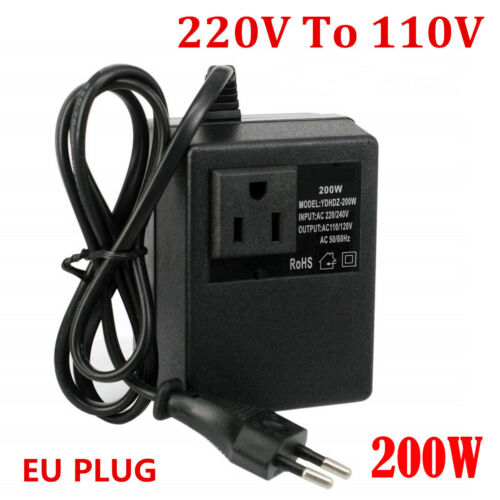 200W AC 220V zu 110V Spannungswandler Transformator Wandler Konverter EU Plug