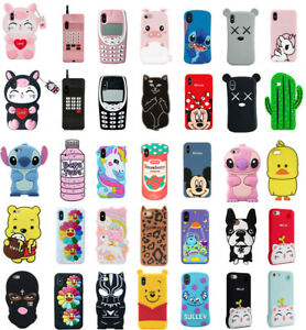 Case-Cover-For-iPhone-5S-6-7-8-Plus-XR-XS-MAX-Cute-3D-Cartoon-Silicone-Kids-Skin