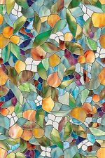 "Durable Cornucopia Window Film Stained Glass Look 24"" by 36"" Multi-Color"