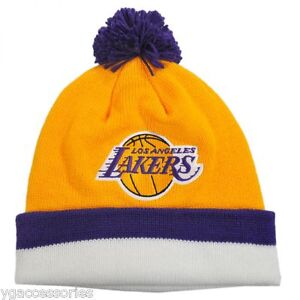 762318a9777 NBA Los Angeles Lakers Mitchell   Ness Cuffed Pom Winter Hat READ ...