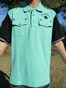New authentic men 39 s crown holder polo shirts mint black for Mint color polo shirt