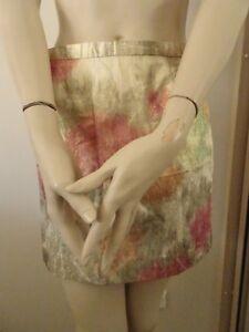 H-amp-M-Polyester-Metallic-Skirt-Sz-US-6-Beige-EUC