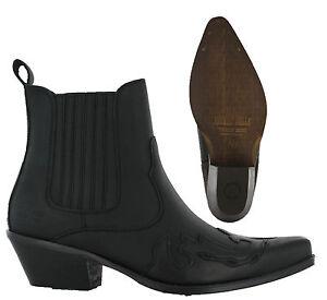 349e7ac706ba Das Bild wird geladen Johnny-Bulls-Herren-Cowboy-Western-Schwarzes-Leder -Anziehen-