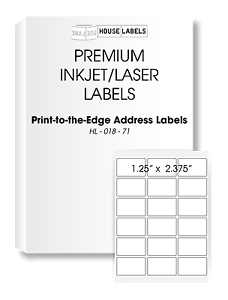 2000 Sheets 36000 Labels 1.25 x 2.375 18 UP Fast Peel White File ID Labels