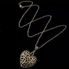 "3D Heart Necklace 24"" Chain Flower Hollow Silver Love Charm Pendant Unusual *UK*"