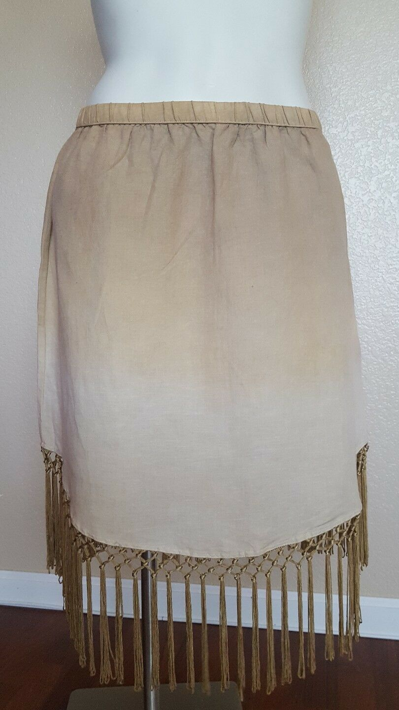 New NWT Soft Surroundings Beige Fiesta Ombrey Fringes Lined Skirt size Petite XL