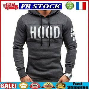 Men Teenager Boy Long-Sleeves Letters Print Hoodie Sweatershirt (Grey M)