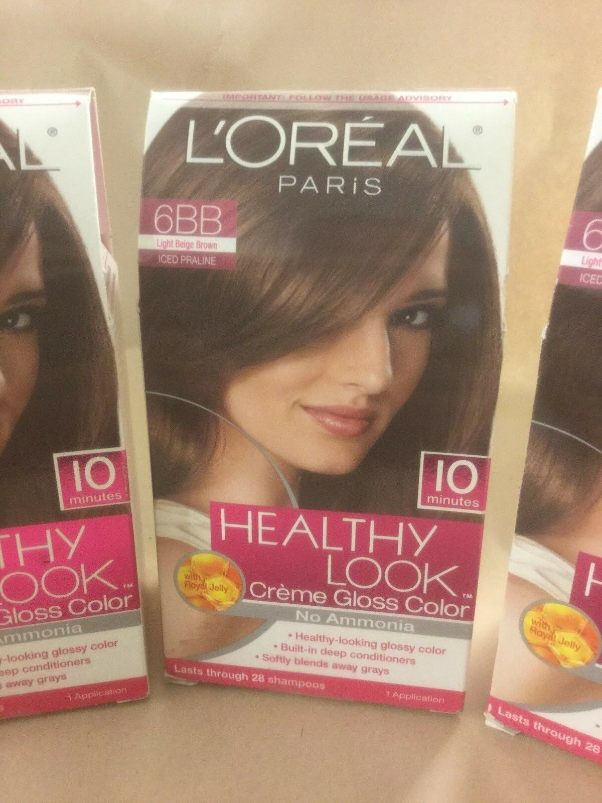 3 X Loreal Healthy Look Hair Color Light Beige Brown Iced Praline