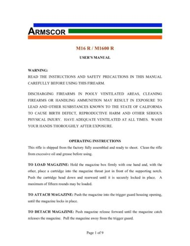 copy Details about  /Armscor M-16 Owners Manual