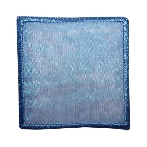 ID 8838 Blue Lace Square Patch Badge Shape Cover Embroidered Iron On Applique