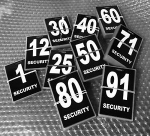 Security-guard-crowd-controller-number-tag-ID-Black-Various-Numbers
