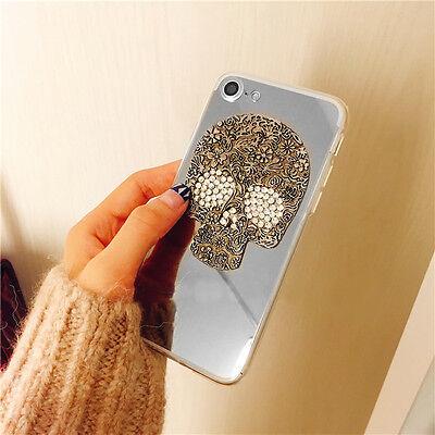 Mirror Bling Glitter Diamond 3D Skull Luxury Sparkle Rhinestone Soft Case Cover
