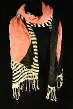 Quirky fresco Rayas Estilo de Moda Damas Cebra Negro/Blanco/Rosa Bufanda (UW5)