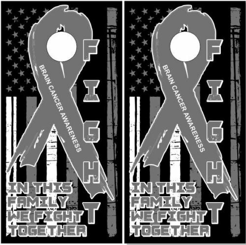Brain Cancer Awareness Flag Ribb Cornhole Wrap Bag Toss Skin Decal Sticker Wraps