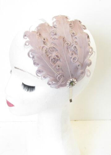 Grey Feather Fascinator Headband Curly Races Headpiece Vintage 1940s Silver N03
