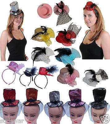 Women Fascinator Burlesque Top Hat Feather Head Hair Clip Fancy Dress Accs