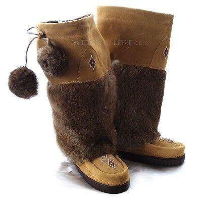 Original Manitobah® Mukluks Gr 36 - 37 Neu Braun Leder Boots Stiefel Fell Pelz Reine WeißE