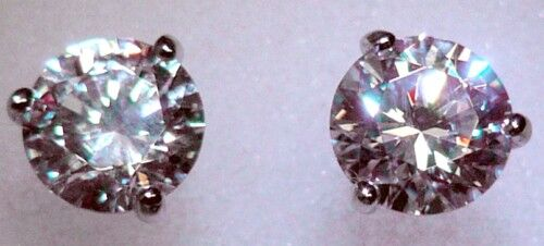 2 ct tw Martini Earring Top Russian CZ Moissanite Simulant 14 Kt Extra Brilliant