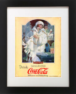 Details about Antique 1920s Coca-Cola ICE SKATING Woman Soda Fountain Sign  Poster Art Print