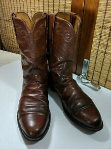 Lucchese-Classics-Leather-Cowboy-Boots-Handmade-Brown-Calf-11D-L3520RR-L3004