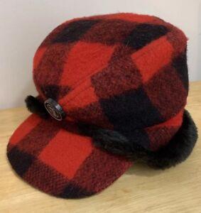Vintage-Red-amp-Black-Buffalo-Plaid-Elmer-Fudd-Hunting-Cap-Hat-Large