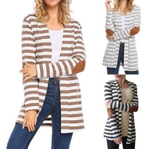 Damen-Langarm-Pullover-Strick-Cardigan-Jacke-Strickjacke-Gestreift-Tops-Bluse-CH