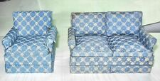 TRADITIONAL PERWINKLE BLUE LIVING ROOM DOLLHOUSE FURNITURE MINIATURES