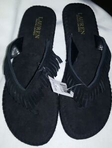 b830bba72 Image is loading POLO-RALPH-LAUREN-WOMENS-SUEDE-LEATHER-FRINGE-FLIP-