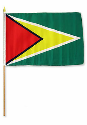12x18 30.5cmx45.7cm Lotto All'ingrosso Di 3 Guyana Stick Bandiera Legno Staff