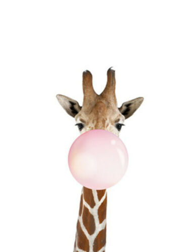 Simple Cartoon Decor Draw Animal Giraffe Balloon Art Room Nursery Decor Poster