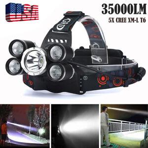35000LM-5Head-CREE-XM-L-T6-LED-18650-Headlamp-Headlight-Flashlight-Torch-Lamp-BK