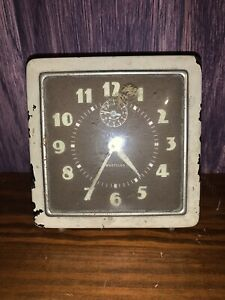 Vtg Metal Westclox Spur Square Alarm Clock With Luminous Dial Off White UNTESTED