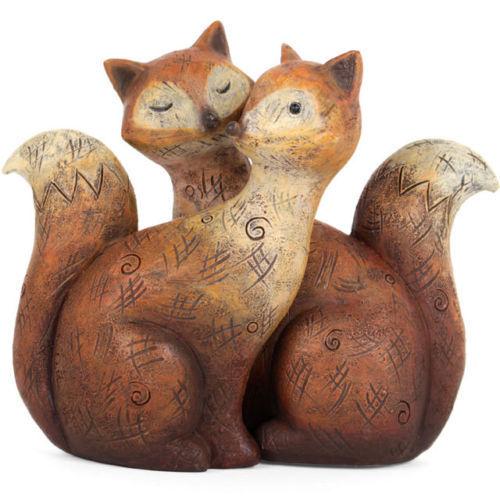 Paire de Fox-Mignon Entwined Animal Statue Ornements Figure-Romance Amour Cadeau