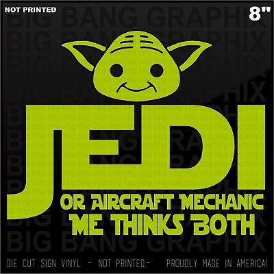 Funny Aircraft Mechanic Jedi Vinyl Decal Sticker Window Body Bumper Lettering